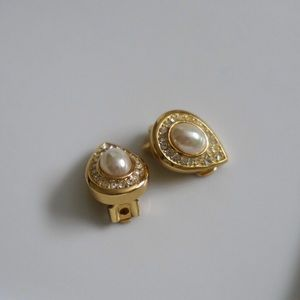 Christian Dior Vintage Faux Pearl Signed Earrings